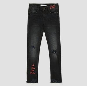Zara Skinny Ankle Raw Frayed Hem Black Jeans 4